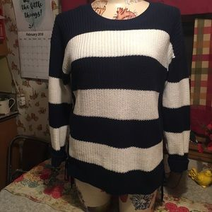 Talbots navy and cream cute striped sweater!